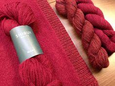 "Shibui Maai, Cima, and Pebble in ""Bordeaux"" - a ""Trace"" pullover colorway."
