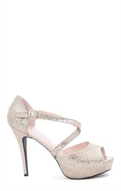 Deb Shops Peep Toe Platform Heel with Mesh #Glitter and Straps over Foot $24.43