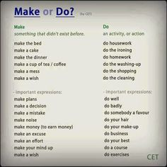 Make or do We use 'make' when we are talking about constructing, creating or performing something. 'Make your bed.' 'Make a pie.' We use 'do' to describe indefinite activities as well as with 'anything', 'something' and 'nothing'. We also use 'do' to talk about duties, jobs or leisure activities. 'Do your work, please.' 'Do something!' Learn English - Google+