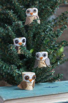 Cork ornaments - owls