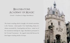 Beauxbatons Academy of Magic (French: Académie de Magie Beauxbâtons)