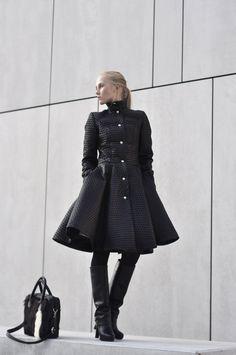 black jacket autum winter black boots