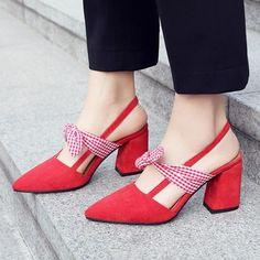 Sweet Chunky Heel Bowknot Heels – comfortable high heels,high heels platform,high heels strappy,pretty high heels,high h High Heels For Prom, Cute High Heels, Platform High Heels, High Heels Stilettos, Suede Heels, Strappy Heels, Womens High Heels, Shoes Heels, Fashion Bags