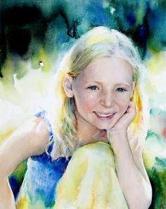 Peggy Habets - watercolour chid portrait.