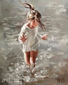 Art by Maria Magdalena Oosthuizen Painting Inspiration, Art Inspo, Painting People, Beach Art, Beautiful Paintings, Love Art, Painting & Drawing, Amazing Art, Watercolor Paintings
