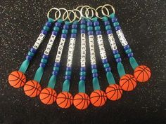 PERSONALIZED NAMED BASKETBALL KEYCHAINS/ BAG TAGS IN YOUR TEAMS COLORS AND NAMES New without tags - handmade with love. A set of personalized basketball key chains / bag tags with your teams colors and names to attach to keys, sports bags, etc - see other listings for netball, #basketballcamps