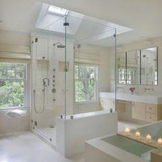 Limestone flooring,  Dornbracht faucet and fixtures, Custom Cabinetry, Robern Medicine Cabinets | ShopStudio41.com