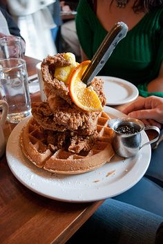 Screen Door fried chicken and waffle