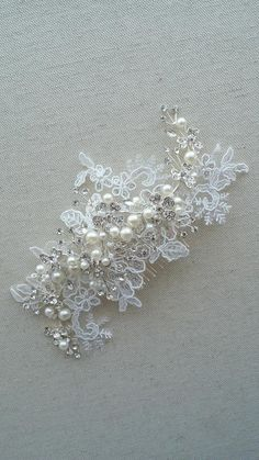 Lace Wedding Headpiece, Crystal Pearl and lace Hair Comb, Wedding Hair Comb, Bridal Lace Hairpiece, Bridal Hair Comb Lace Hairpiece, Bridal Lace, Wedding Lace, Pearl And Lace, Hair Comb Wedding, Lace Weddings, Bridal Gifts, Wedding Hair Accessories, Bridal Headpieces