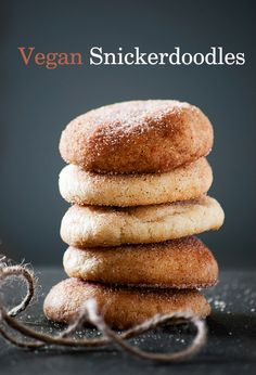 This Vegan Snickerdoodle recipe is incredibly easy and unbelievably delicious! You can't even tell it's the vegan version. Vegan Treats, Vegan Foods, Vegan Dishes, Easy Vegan Cookies, Vegan Sugar Cookies, Vegan Dessert Recipes, Dairy Free Recipes, Cooking Recipes, Vegan Recipes