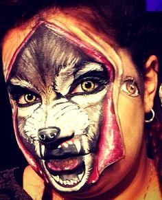 """Face paint I did at FABAIC titled """"little red riding hood"""" #facepaint #wolf #fabaic"""
