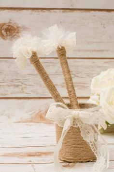 Wedding Guest Book Pen Holder Rustic Pen Holder by HappyWeddingArt