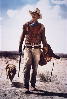 Hondo Lane (John Wayne) pictured here with Pal, the dog that played Sam in Hondo (1953), is believed to be the son of one of the dogs who played Lassie.