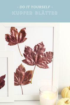 DIY Kupfer Herbstblätter im Bilderrahmen selber machen