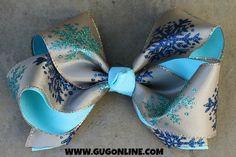 Champagne and Aqua Blue Glitter Snowflake Hairbow www.gugonline.com $12.95