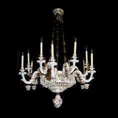 Meissen porcelain chandelier with hand-painted flowers and matching canopy.