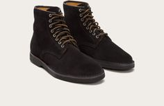 Frye Arden Lace Up - Black Suede