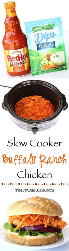Crockpot Buffalo Ranch Chicken Sandwich Recipe! ~ from TheFrugalGirls.com ~ just a few simple ingredients and you've got the most flavor packed sandwiches!  Such an Easy Crock Pot Dinner or delicious Game Day lunch! #recipes #thefrugalgirls