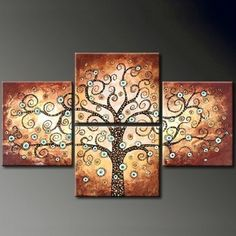 Life Tree 4-panel Hand-painted Canvas Art Set