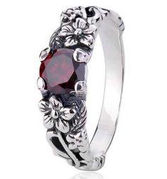 les femmes gros punk réel 925 bague bijoux en argent sterling fleur vintage gothique anneaux cadeaux d0600 dans Bagues de Bijoux sur Aliexpress.com 23.99us