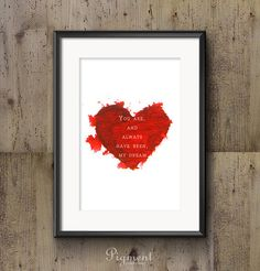 Heart  watercolor / Valentine's Day print, instant download, printable art