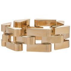 Retro Gold Tank Track Bracelet | From a unique collection of vintage link bracelets at https://www.1stdibs.com/jewelry/bracelets/link-bracelets/