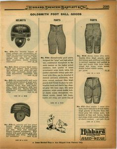 1926 PAPER AD Goldsmith Football Leather Helmet Head Harness Pants