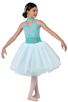 Style# 17330 FROM THIS MOMENT  Mint spandex halter leotard with glitter printed white mesh overlay. Separate white chiffon over mint tulle tutu with matching ruched waistband. Sequin applique trim. Headpiece included. SC-XXLA