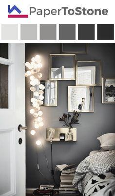 Bedroom Details In A Gothenburg Apartment With A Bold Dark Bedroom - Gravity Home - Interior Decor Gray Bedroom, Home Bedroom, Bedroom Decor, Dark Bedrooms, Bedroom Ideas, Design Bedroom, Bedroom Lighting, Modern Bedroom, Bedroom Plants