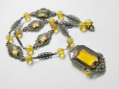 Vintage Deco Czech Yellow Glass Filigree Brass Necklace by GrandVintageFinery, $165.00