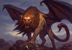 """een mythisch figuur: manticore. De manticore is een fabeldier. De naam dit wilde beest is afkomstig uit het Oud-Perzisch en betekent """"menseneter"""". Dit monster is zo groot als een forse leeuw en heeft een ruige, vermiljoenrode vacht en blauwe ogen. Het gezicht en de oren zijn menselijk, maar in de bek zitten drie rijen tanden. Op zijn hoofd en schorpioenachtige staart groeien dodelijke stekels. De manticore is snel, sterk en springt over elk obstakel. Zijn stem is misleidend aangenaam."""