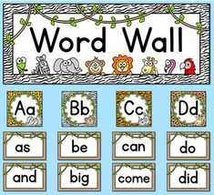 This fun jungle / zoo animals theme word wall set will look fantastic on your classroom wall! This set is so versatile because you can make any words that you want with the included blank word frames and editable PowerPoint file. By Pink Cat Studio Classroom Wall Decor, Jungle Theme Classroom, Classroom Walls, Classroom Themes, Classroom Activities, Hand Crafts For Kids, Fun Educational Games, Theme Words, Online Games For Kids