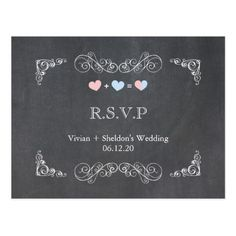 Ornate Frame + Chalkboard Wedding RSVP (4.25x5.6) Postcard
