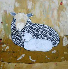 ♞ Artful Animals ♞ bird, dog, cat, fish, bunny and animal paintings - Barbara Olsen Illustrations, Illustration Art, Animal Paintings, Art Paintings, John Everett Millais, Sheep Art, Sheep And Lamb, Farm Yard, Cat Art