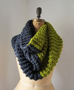 Super Snuggly Chunky knit cowl Chartreuse. Grey. by Happiknits