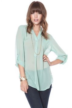 ShopSosie Style : Pure chiffon blouse in mint (she needs a tank top but this is super cute)