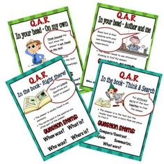 """These charts were made to display the 4 comprehension strategies used when answering questions about a text using the """"Question answer Relationship"""" categories. Each chart includes a description of the strategy, a visual prompt, where to find the answers and example question stems/starters.Increase ... Reading Resources, School Resources, Teacher Resources, Teacher Pay Teachers, Question Stems, Question And Answer, Education And Literacy, Primary Education, Co Teaching"""