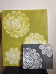 Doily Spray Paint Canvas