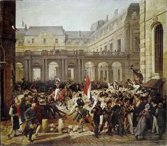 """Vernet,Horace.Revolution of 1830:Departure of King Louis-Philippe for the Paris townhall (Hotel de Ville).Before him the """"Tricolore"""",the Republican flag he has just kissed. July 31,1848. Painted 1832. Canvas"""