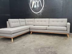 Mid Century Modern Sectional Chaise Sofa by TDFurniture on Etsy Mid Century Modern Couch, Mid Century Sofa, Mid Century Modern Furniture, Sectional Sofa With Chaise, Sofa Couch, Modern Sectional, Couches, Canapé Design, Sofa Design