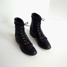 Black Laredo Ropers - I have these but with a riding heel and black on black tongue.  Polished to a shine. Love them!