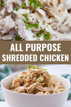 All Purpose Shredded Chicken 3 Ways Grilled Chicken Recipes, Baked Chicken, Chicken Salads, Easy Whole 30 Recipes, Healthy Protein, Recipes For Beginners, Chicken Seasoning, Food Hacks