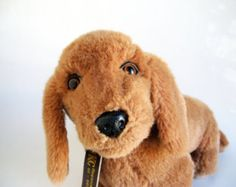 Vintage Dachshund Dog Stuffed Animal 1980s Toy Retro Toys Vintage Kids IKC 24K Polar Puffs Brown Dog Weiner Dog Doxie Dog chocolate brown
