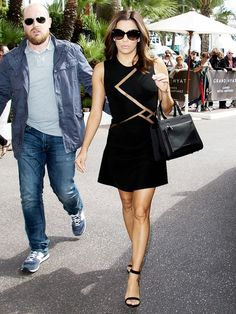 Eva Longoria wears a LBD with sheer mesh detailing