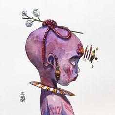No photo description available. Art Journal Inspiration, Art Inspo, Arte Latina, Dark Art Drawings, Exotic Art, Guache, Cyberpunk Art, Watercolor Artwork, Character Design Inspiration