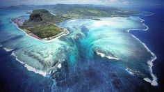Underwater Waterfall, Mauritius Island in Africa. Strong ocean currents continually drive sand from the shores of Mauritius into the abyss below, creating this one-of-a-kind underwater waterfall. Places To Travel, Places To See, Beautiful World, Beautiful Places, Amazing Places, Amazing Things, Wonderful Places, Beautiful Ocean, Beautiful Scenery