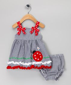 Take a look at this Navy & Red Ladybug Seersucker Dress & Diaper Cover - Infant by Rare Editions on #zulily today!