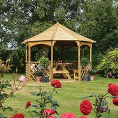 Garden Wooden Gazebo Outdoor Large Shade Structure Dining Pavilion Shelter Roof