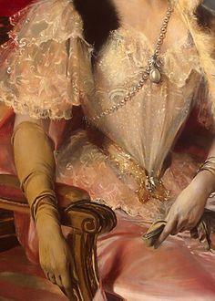 Traveling through history of Art...Princess Zinaida Yusupova, detail, by Francois Flameng, 1894.