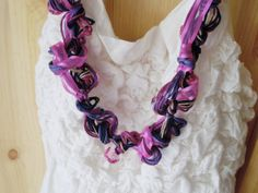 Cotton and linen yarn necklace with plastic beads, handknitted bobbles and bright fuchsia organza ribbon -- Purple Passion 1